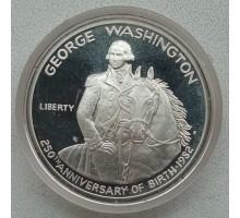 США 50 центов 1982. 250 лет со дня рождения Джорджа Вашингтона серебро