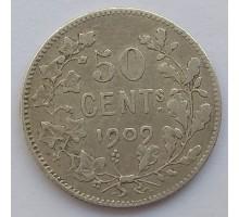 Бельгия 50 сантимов 1909 серебро