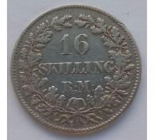 Дания 16 скиллинг-ригсмёнтов 1856 серебро