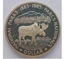 Канада 1 доллар 1985. 100 лет Национальным паркам серебро