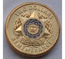 Австралия 2 доллара 2019. 30-летие Дня памяти национальной полиции цветная