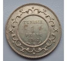 Тунис 1 франк 1912 серебро