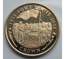 Фолклендские острова 1 крона 2008. 175 лет Порту-Луи