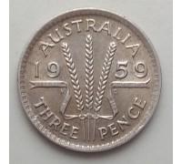 Австралия 3 пенса 1959. Серебро