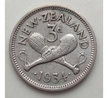 Новая Зеландия 6 пенсов 1934. Серебро