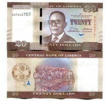 Либерия 20 долларов 2016-2017