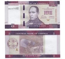 Либерия 5 долларов 2016