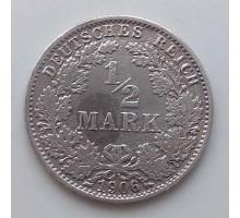 Германия 1/2 марки 1906 А серебро