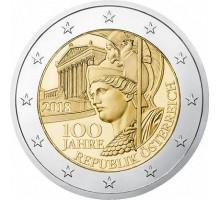 Австрия 2 евро 2018. 100 лет Австрийской республике