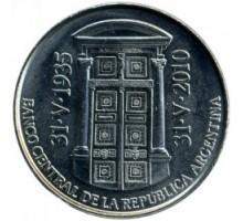 Аргентина 2 песо 2010. 75 лет Центральному банку Аргентины