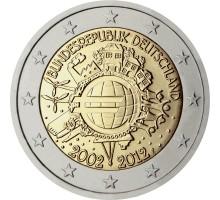 Германия 2 евро 2012. 10 лет наличному Евро