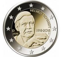 Германия 2 евро 2018. 100 лет со дня рождения Гельмута Шмидта