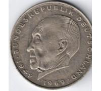 Германия (ФРГ) 2 марки 1971 D. Конрад Аденауэр, 20 лет Федеративной Республике (1949-1969)