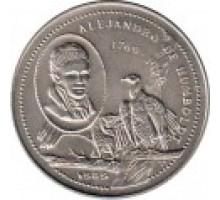 Куба 1 песо 1989. 220 лет со дня рождения Александра фон Гумбольдта