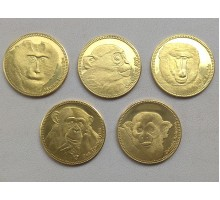 Сомалиленд 5 шиллингов 2017. Обезьяны. Набор 5 монет
