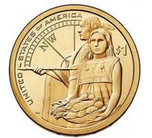США 1 доллар 2014. Сакагавея Индианка. Гостеприимство индейцев