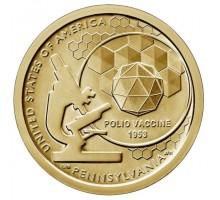 США 1 доллар 2019. Американские инновации. Вакцина против полиомиелита