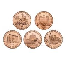 США 1 цент  Жизнь Линкольна. Набор 5 монет