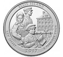 США 25 центов 2017. 39-й парк Национальный монумент острова Эллис