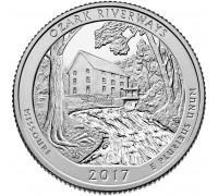 США 25 центов 2017. 38-й парк. Национальные водные пути Озарк