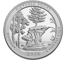 США 25 центов 2018. 41-й парк. Национальное побережье живописных камней в Мичигане