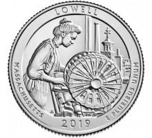 США 25 центов 2019. 46 парк. Национальный исторический парк Лоуэлл