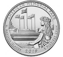 США 25 центов 2019. 47-й парк. Американский Мемориальный Парк