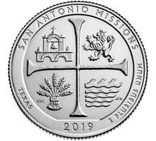 США 25 центов 2019. 49-й парк. Национальный Исторический Парк Миссии Сан-Антонио