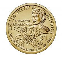США 1 доллар 2020. Коренные Американцы - Элизабет Ператрович. Закон о борьбе с дискриминацией 1945