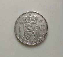 Нидерланды 1 гульден 1957 серебро