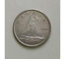 Канада 10 центов 1963 серебро
