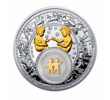 Беларусь 20 рублей 2013. Знаки зодиака Близнецы серебро