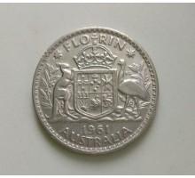 Австралия 1 флорин 1961 серебро