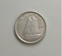 Канада 10 центов 1940 серебро