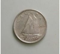 Канада 10 центов 1950 серебро