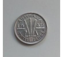 Австралия 3 пенса 1942 серебро