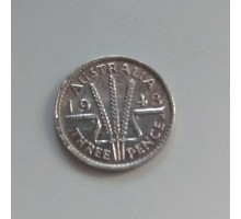 Австралия 3 пенса 1943 серебро