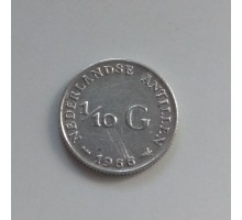 Нидерландские Антилы 1/10 гульдена 1966 серебро
