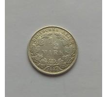 Германия 1/2 марки 1906 Е серебро
