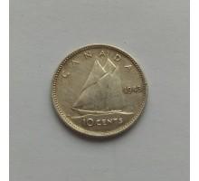 Канада 10 центов 1943 серебро
