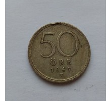 Швеция 50 эре 1947 серебро