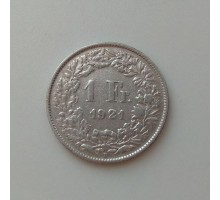 Швейцария 1 франк 1921 серебро