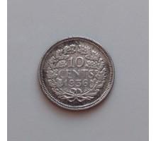 Нидерланды 10 центов 1936 серебро