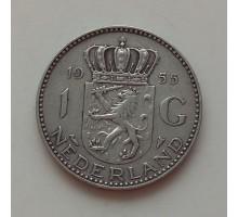 Нидерланды 1 гульден 1955 серебро