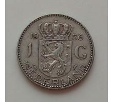 Нидерланды 1 гульден 1956 серебро