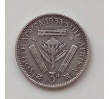 Южная Африка 3 пенса 1933 серебро