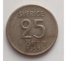 Швеция 25 эре 1953  серебро