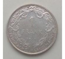 Бельгия 1 франк 1911 серебро