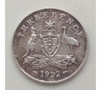Австралия 3 пенса 1922 серебро