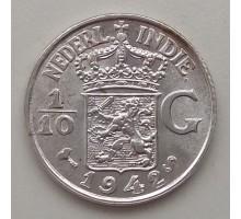 Нидерландская Восточная Индия 1/10 гульдена 1942 серебро